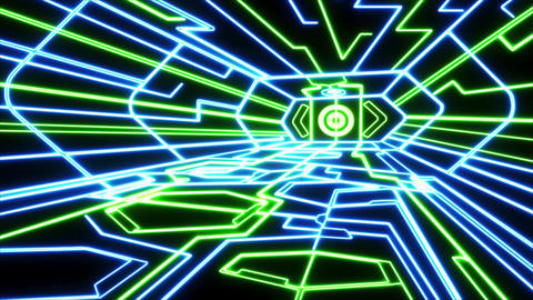 Blue Green Outer Space Neon Room Environment Motion Graphic Element Animation