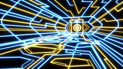 Blue Yellow Outer Space Neon Room Environment Motion Graphic Element Animation