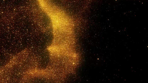 Golden Fire Particles Dancing in the Wind Abstract Motion Background Animation