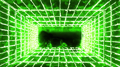 Green Burning Neon Room Environment Motion Graphic Background Animation