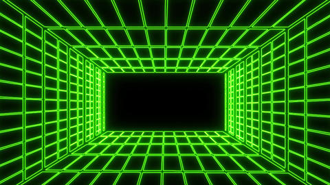 Green Neon Grid Room Environment Motion Graphic Element Animation