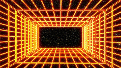 Orange Neon Grid Room Environment with a Starfield Motion Graphic Background
