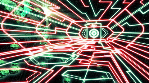 Red Green Outer Space Neon Room Environment Motion Graphic Background Animation
