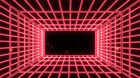 Red Neon Grid Room Environment with a Starfield Motion Graphic Background Animation