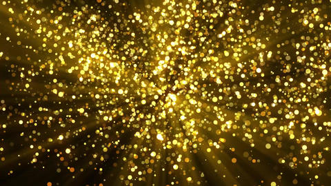 Golden Ascending Glowing Particles with Light Rays Motion Graphic Background Animation