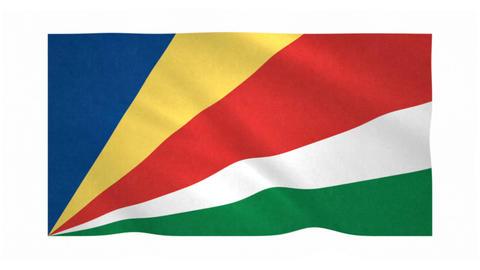 Flag of Seychelles waving on white background Animation