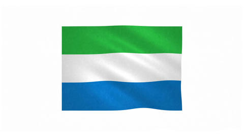 Flag of Sierra Leone waving on white background Animation