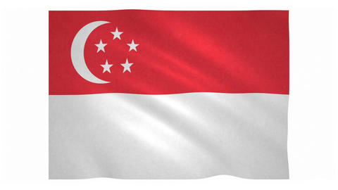 Flag of Singapore waving on white background Animation
