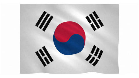 Flag of South Korea waving on white background Animation