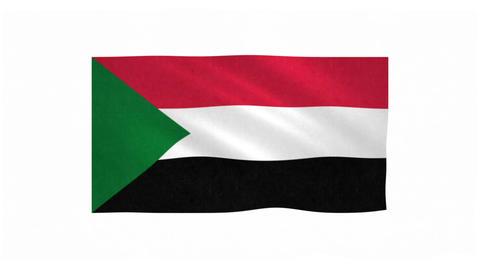 Flag of Sudan waving on white background Animation