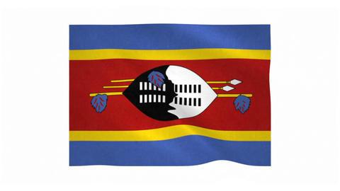 Flag of Swaziland waving on white background Animation