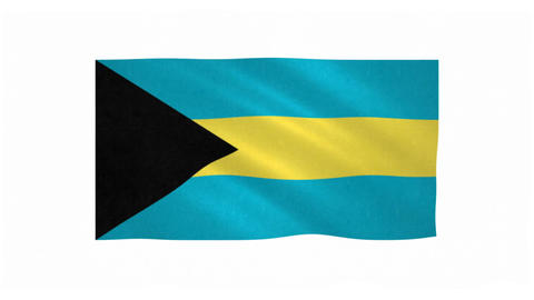 Flag of Bahamas waving on white background Animation