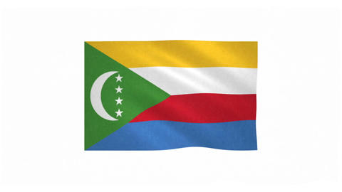 Flag of Comoros waving on white background Animation