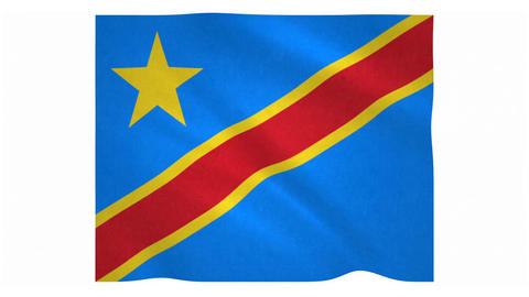 Flag of Democratic Republic of the Congo waving on white background Animation