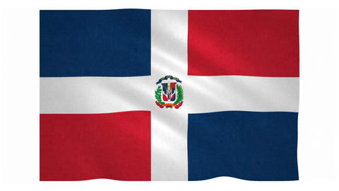 Flag of Dominican Republic waving on white background Animation