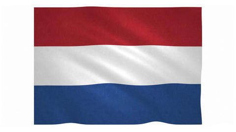 Flag of the Netherlands waving on white background Animation
