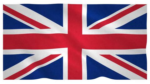 Flag of United Kingdom waving on white background Animation