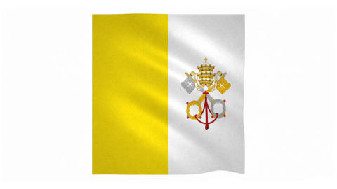 Flag of Vatican City waving on white background Animation