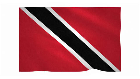 Flag of Trinidad and Tobago waving on white background Animation