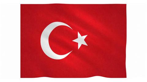Flag of Turkey waving on white background Animation