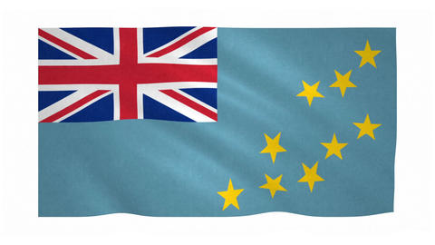 Flag of Tuvalu waving on white background Animation