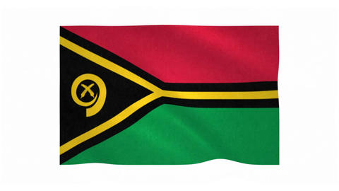 Flag of Vanuatu waving on white background Animation