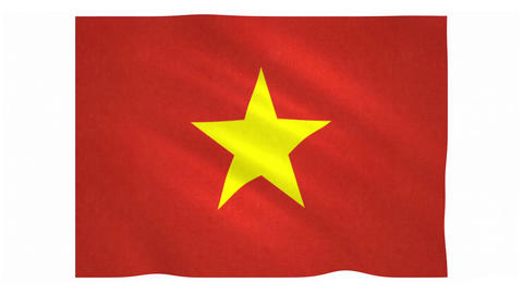 Flag of Vietnam waving on white background Animation