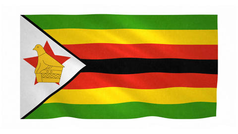 Flag of Zimbabwe waving on white background Animation