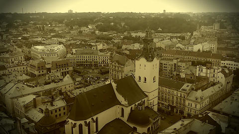 Retro video recording of medieval Roman Catholic cathedral in Lviv, Ukraine Footage