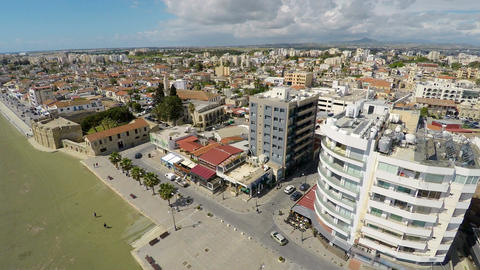 Bird's eye view of amazing cityscapes in Larnaca city, Cyprus on a sunny day Footage