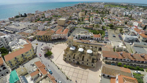 Aerial view of the main attraction of Larnaca, Orthodox Church of Saint Lazarus Footage