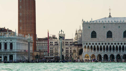 Tourist attractions in Venice, St. Mark's square and Doge's Palace, travel Live Action