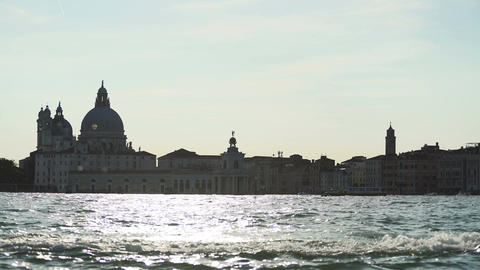Magic hour in Venice, vaporetto sailing along Grand Canal, tourist attractions Footage