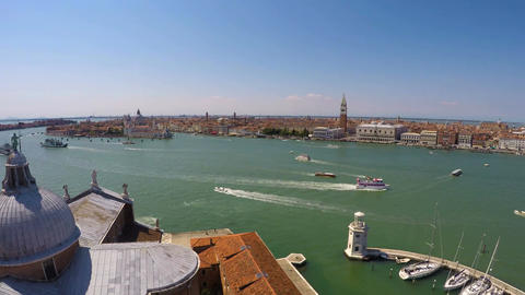 Boats and vaporettos sailing across Venice Canal, view from top, time-lapse Footage