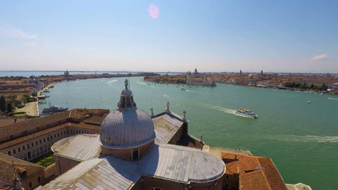 Transportation on Grand Canal, active water traffic, Venice top view, time lapse Footage