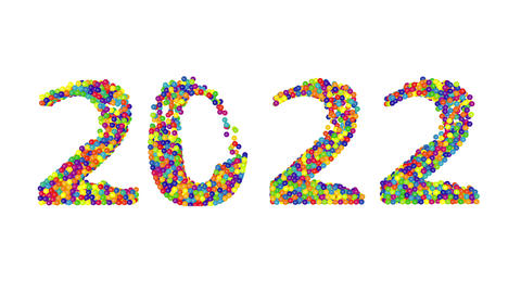 3d render animation with colored balls creating 2022 year on a white background Animation