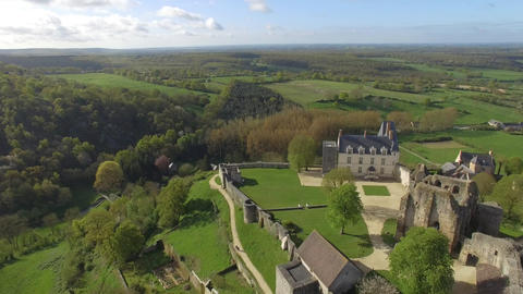 Sainte Suzanne, one of the most beautiful villages in France drone seen by the s Footage