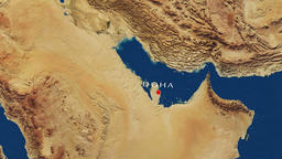 Doha - Qatar Zoom In From Space Animación