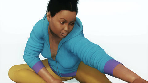 Plus size african woman in stretching yoga pose