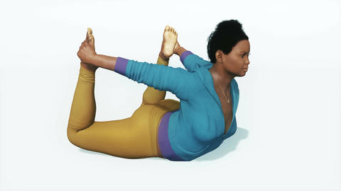 Plus size african woman in bow pose yoga Animation