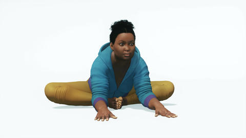 Plus size black woman in stretching yoga pose Animation