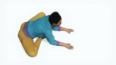Curvy african woman doing stretching yoga exercise Animation