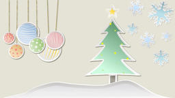 Christmas animation with tree snowflakes decorations and stars