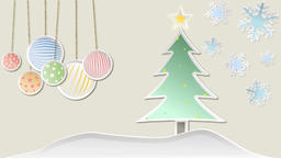 Christmas animation with tree snowflakes decorations and... Stock Video Footage