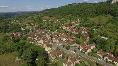 Autoire, one of the most beautiful villages in France seen by drone Footage