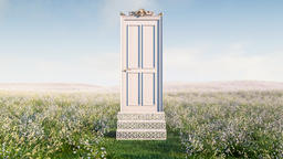 Decorative Magic door opening in the middle of flower bed meadow Animación