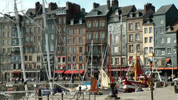 Europe France Normandy fishing village of Honfleur 004 fishing boats, houses row Footage