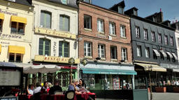 Europe France Normandy fishing village of Honfleur 029 street cafes Footage