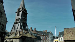 Europe France Normandy fishing village of Honfleur 034 roofs and church tower Footage