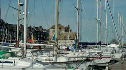 Europe France Normandy fishing village of Honfleur 047 yachts and museum Footage